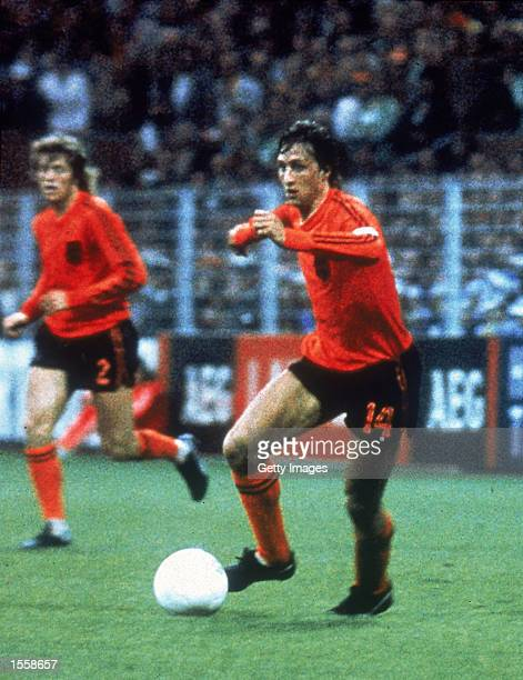 Johan Cruyff of Holland in action during the World Cup match against Sweden played at the Westfalenstadion in Dortmund Germany Mandatory Credit...