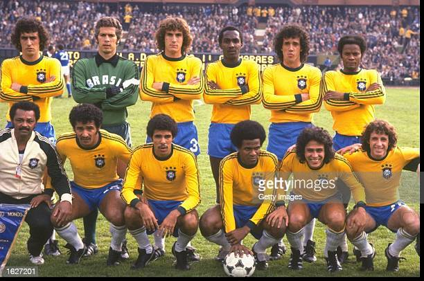 The Brazilian team before the World Cup SemiFinal match against Italy at the Monumental Stadium in Buenos Aires Argentina Brazil won the match 21...