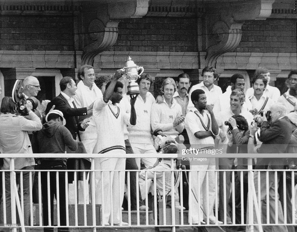 Clive Lloyd of the West Indies holds up the magnificent World Cup Trophy after beating England by 92 runs at Lords Cricket Ground in London, England. \ Mandatory Credit: AllsportUK /Allsport