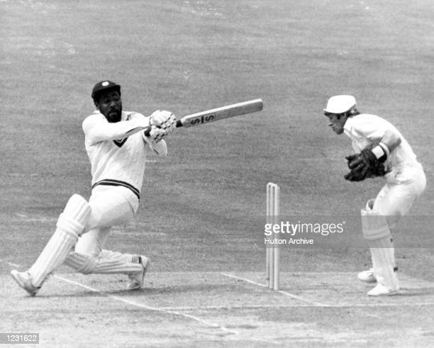 Viv Richards of the West Indies at bat against England during the Prudential World Cup at Lords in England Richards finished at 138 not out and...