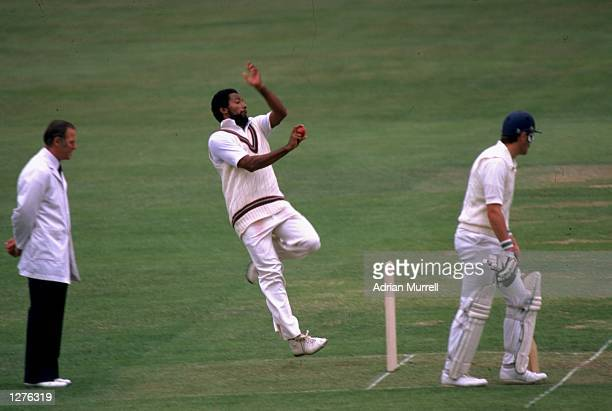Andy Roberts of the West Indies in action during the second test against England at Lords in London England Mandatory Credit Adrian Murrell /Allsport