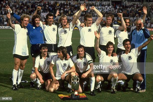 West Germany celebrate with the trophy after victory in the European Championship Final against Belgium at the Stadio Olimpico in Rome West Germany...