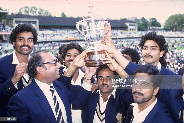 Cricket World Cup Final at Lords. A jubilant Indian team lift the World Cup trophy after India beat the West Indies in the final.