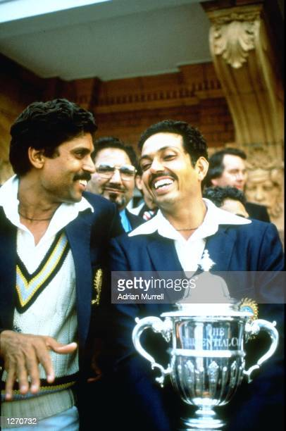 ''Man of the match'' Mohinder Armanath and Indian Captain Kapil Dev celebrate after their victory in the World Cup final against the West Indies at...