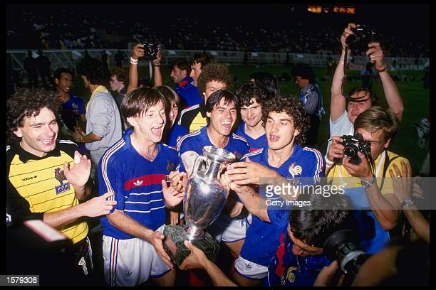 France celebrate victory over Spain by 20 in the final of the European nations cup which was held in Paris France Mandatory Credit Allsport UK