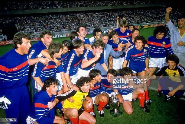 France celebrate victory over Spain in the 1984 European Championships France won 2 0 Mandatory Credit David Cannon /Allsport