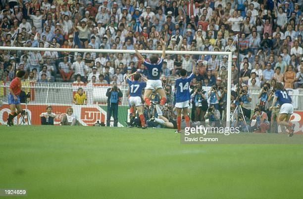Michel Platini of France celebrates a goal during the European Championship final against Spain at Parc des Princes in Paris France won the match 20...