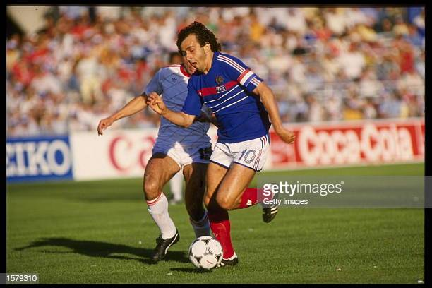 Michel Platini of France on the ball in the game against Portugal during the memorable semi-final of the European nations cup which was held in...