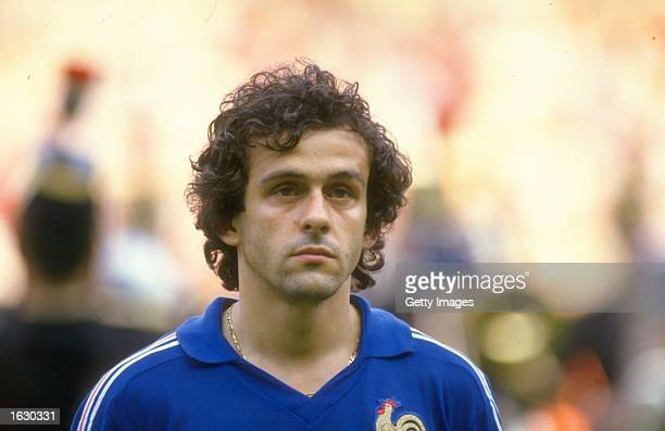Portrait of Michel Platini of France before the European Championship final against Spain at Parc des Princes in Paris. France won the match 2-0. \...