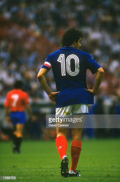 Rear view of Michel Platini of France during the European Championships Final at Parc des Princes in Paris. France won the match 2-0. \ Mandatory...