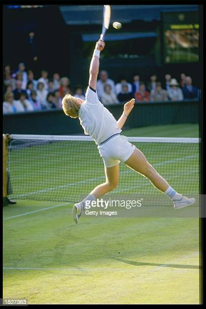 A view of Boris Becker of Germany in action during the Wimbledon championships at the all England club in London Mandatory Credit Allsport UK