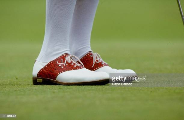 General view of the shoes worn by Payne Stewart of the USA during the US Open at Oakland Hills Country Club in Birmingham Michigan USA Mandatory...