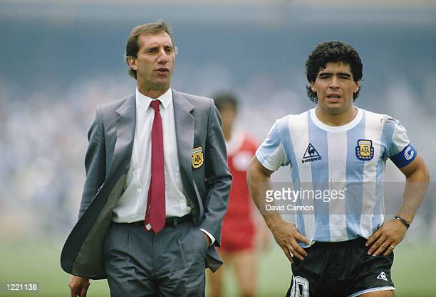 Argentina Manager Carlos Bilardo and Diego Maradona stand together before the World Cup Finals match against South Korea played in Mexico City,...