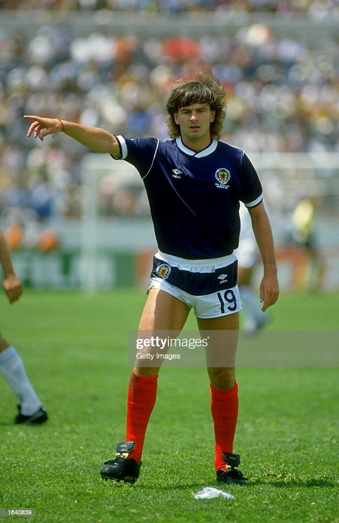 Charlie Nicholas of Scotland indicates to his team mates during a World Cup match against Uruguay at the Nezahualcoytl Stadium in Toluca, Mexico. The match ended in a 0-0 draw. \ Mandatory Credit: Allsport UK /Allsport