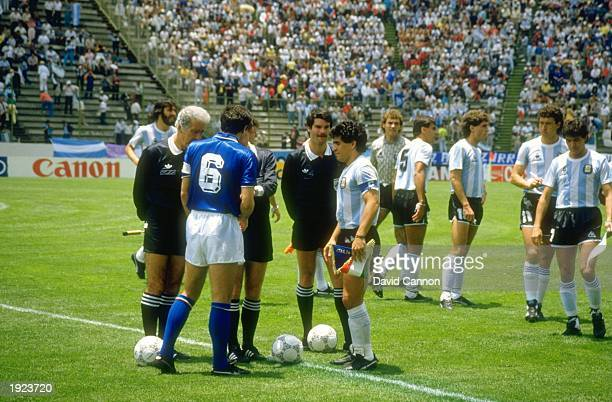 Diego Maradona of Argentina and Scirea of Italy exchange pennants before the World Cup match at Cuauhtemoc Stadium in Puebla Mexico The match ended...