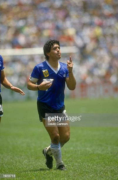 Diego Maradona of Argentina gesticulates during the World Cup quarterfinal against England at the Azteca Stadium in Mexico City Argentina won the...