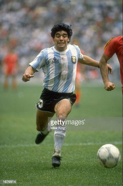 Diego Maradona of Argentina in action during the World Cup semifinal against Belgium at the Azteca Stadium in Mexico City Argentina won the match 20...