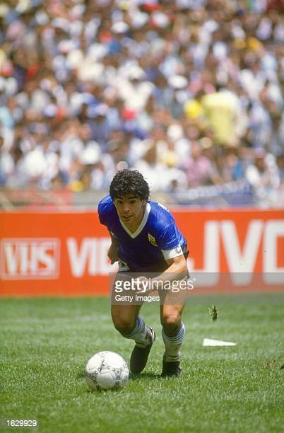 Diego Maradona of Argentina in action during the World Cup quarter-final against England at the Azteca Stadium in Mexico City. Argentina won the...