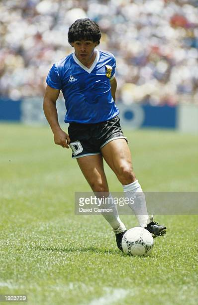 Diego Maradona of Argentina in action during the World Cup quarterfinal against England at the Azteca Stadium in Mexico City Argentina won the match...