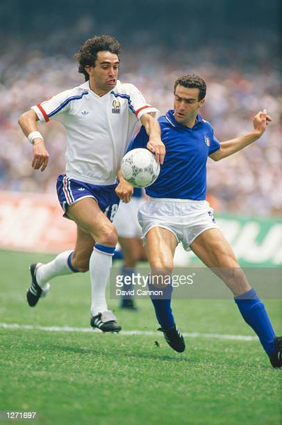 Dominique Rocheteau of France takes on Guiseppe Bergomi of Italy during the World Cup match in Mexico City France won the match 20 Mandatory Credit...
