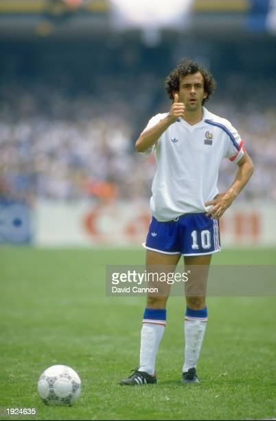 Michel Platini of France gives a thumbs up during the World Cup Second Round match against Italy at the Olympic Stadium in Mexico City France won the...