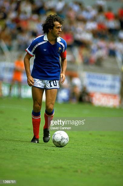 Michel Platini of France in action during the World Cup match against West Germany at the Jalisco Stadium in Guadalajara, Mexico. West Germany won...