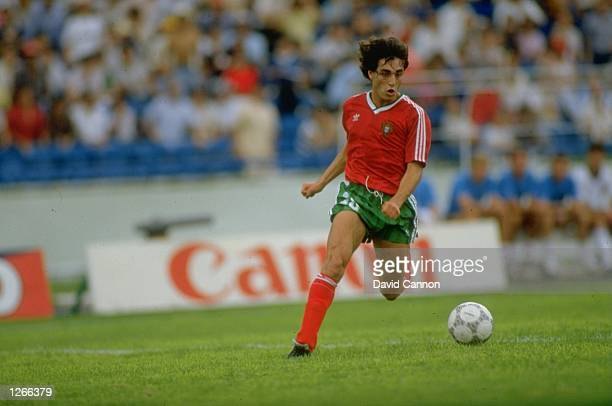 Paulo Futre of Portugal in action during the World Cup match against England at the Technologico Stadium in Monterrey Mexico Portugal won the match...
