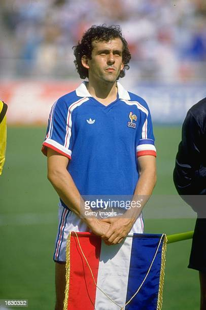 Portrait of Michel Platini of France before the World Cup First Round match against Canada at the Nou Camp Stadium in Le=n Mexico France won the...