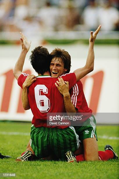Sousa and Carlos Manuel of Portugal celebrate during the World Cup match against England at the Tecnologico Stadium in Monterrey Mexico Portugal won...