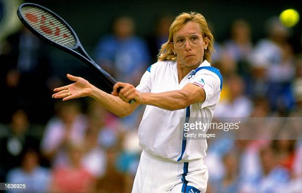 Martina Navratilova of the USA plays a backhand volley in the Womens'' semifinal during the Wimbledon Championships played at Wimbledon London...