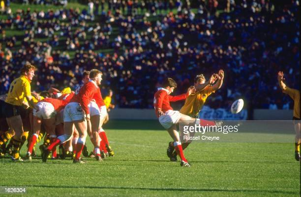Robert Jones of Wales clears the ball during the Rugby World Cup match between Wales and Australia in the match for third place in Rotorua New...