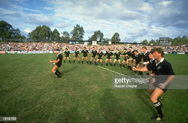 The New Zealand team do their Haka dance at the beginning of the Rugby World Cup match between New Zealand and Wales in the semi final in Brisbane...