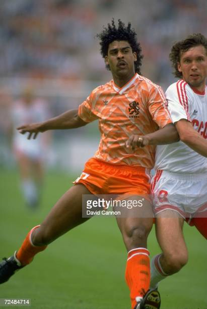 Frank Rijkaard of Holland battles with Oleg Protasov of the Soviet Union in action during the European Championship Final at the Olympic Stadium in...