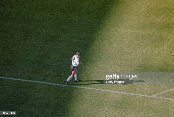 Aerial view of Diego Maradona of Argentina during the World Cup match against Cameroon at the Giuseppe Stadium in Milan Italy Cameroon won the match...