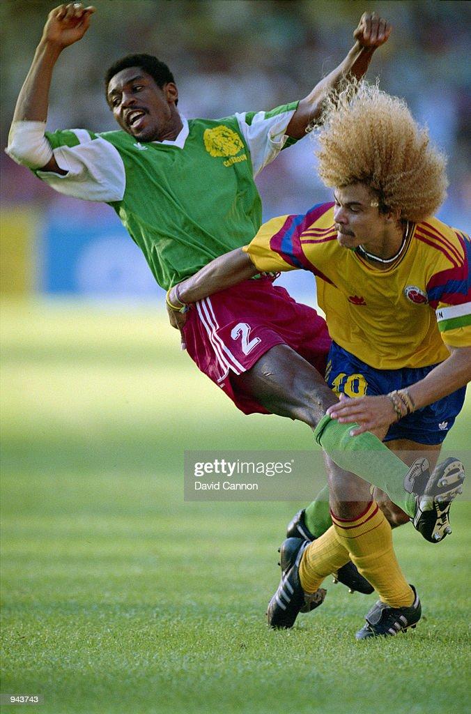 Andre Kana Biyik and Carlos Valderrama : News Photo