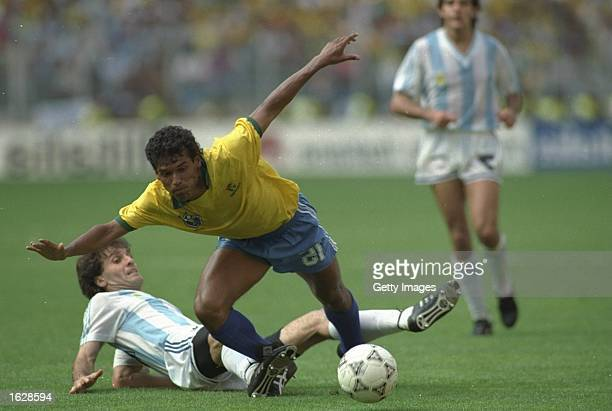 Careca of Brazil is fouled during the World Cup second round match against Argentina in Turin Italy Argentina won the match 10 Mandatory Credit...