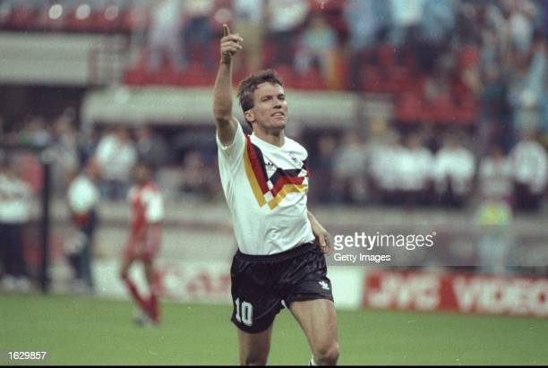 Lothar Matthaus of Germany celebrates during a World Cup match in Italy. \ Mandatory Credit: Allsport UK /Allsport