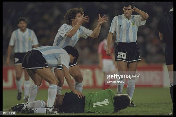 Nery Pumpido the goalkeeper of Argentina breaks his leg during the World Cup match against the Soviet Union in Naples Italy Argentina won the match...