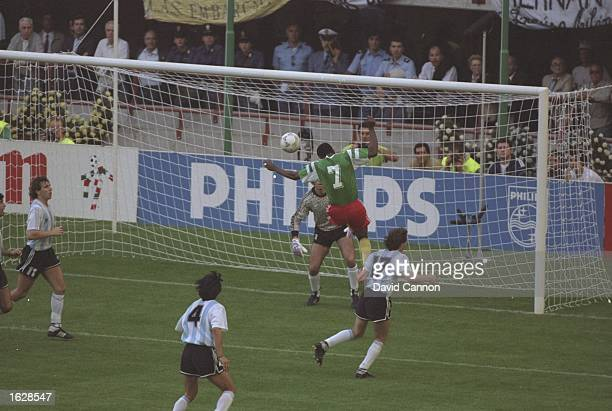 Omam Biyik of Cameroon scores during the World Cup match against Argentina in Milan Italy Cameroon won the match 10 Mandatory Credit David...