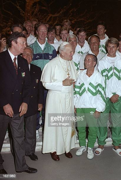 Pope John Paul II stands in front of Jack Charlton and the Ireland Team during the World Cup in Italy Mandatory Credit Allsport UK /Allsport