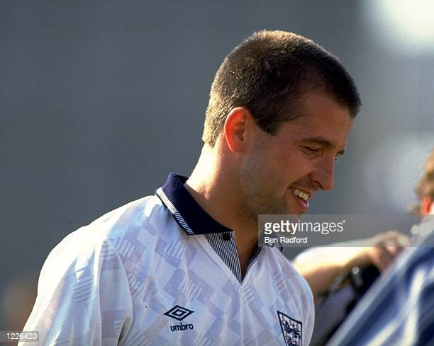 Profile of Steve Bull of England during a match against Tunisia in Tunis Tunisia The match ended in a 11 draw Mandatory Credit Ben Radford/Allsport