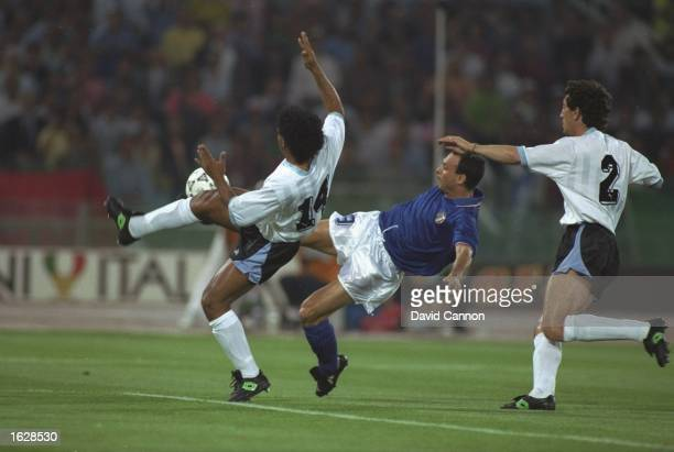 Salvatore Schillaci of Italy tries to score during the World Cup match against Uraguay in Rome Italy won the match 20 Mandatory Credit David...