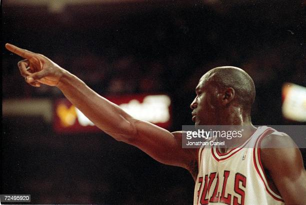 A close up of Michael Jordan of the Chicago Bulls as he points down the court during game two of the NBA Finals against the Los Angeles Lakers The...