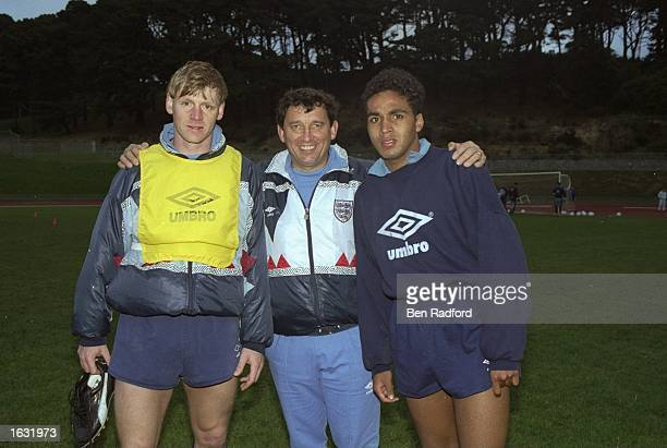 England Manager Graham Taylor stands between Stuart Pearce and Gary Charles during the England Summer Tour. \ Mandatory Credit: Ben Radford/Allsport