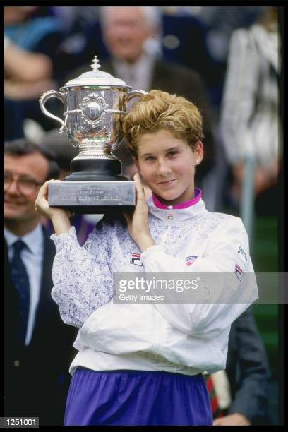 Monica Seles of Yugoslavia with the ladies single trophy after defeating Arantxa Sanchez Vicario of Spain in the final of the French open at Roland...