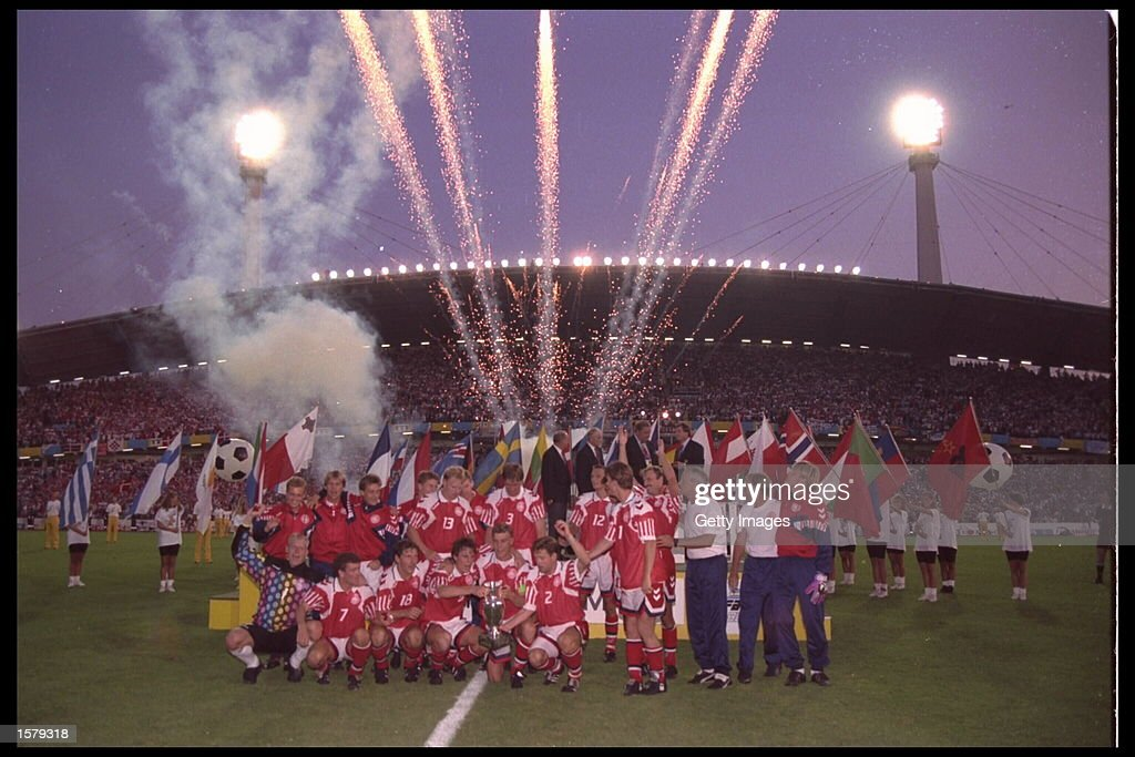 Denmark celebrate victory over Germany in the final of the European nations cup by 2-0 in Gothenburg, Sweden Mandatory Credit: Allsport UK
