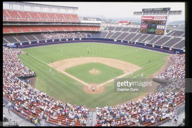 General view of a game between the Houston Astros and the San Diego Padres at Jack Murphy Stadium in San Diego California