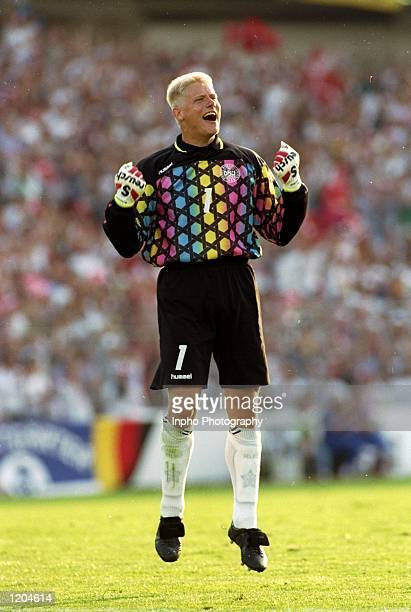 Peter Schmeichel of Denmark celebrates a Danish goal during the European Championships Final against Germany played in Sweden The match finished in a...