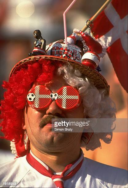 Portrait of a Danish supporter during the European Championship match against Germany at the Ullevi stadium in Gothenburg Sweden Denmark won the...