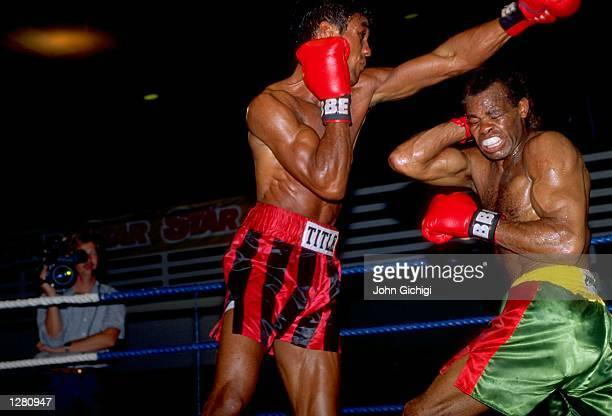 Kevin Lueshing of Great Britain in action during the Southern Area Light Middleweight Title bout against Kirkland Laing in Edmonton London Lueshing...